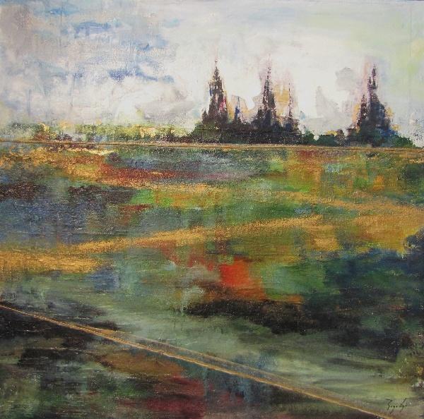 Serie_ Abstracción Paisaje   Técnica Mixta sobre lienzo Medidas: 1,00 x1,00 cm
