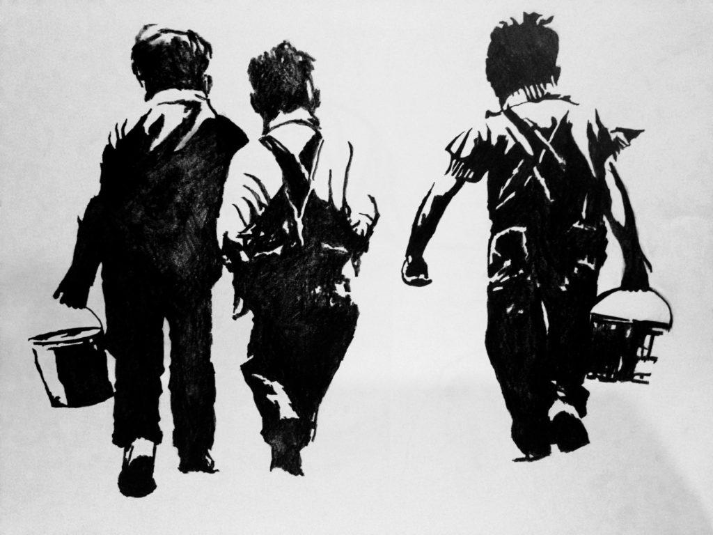 Siluetas 02.18.11  Grafito sobre papel Medidas: 0,90 x 0,70 cm