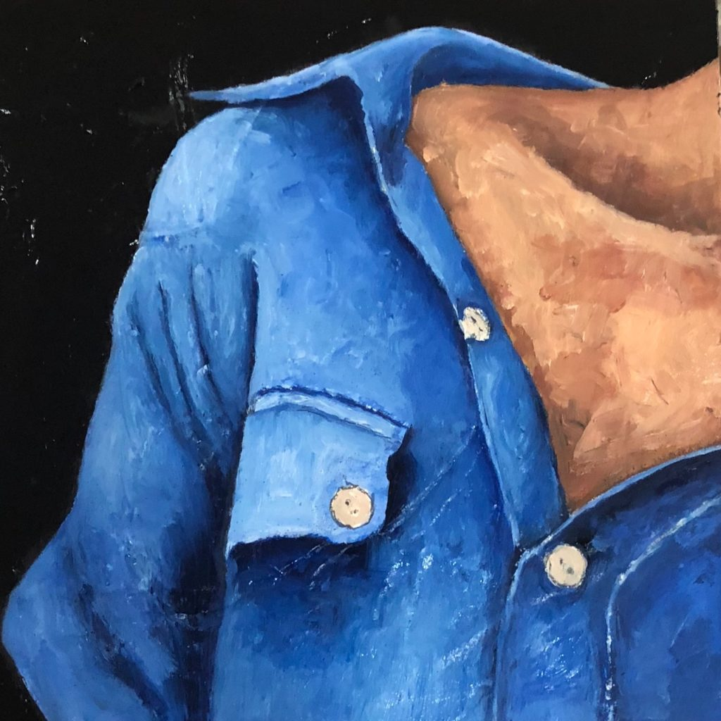 02.18.20_Blusa Azul  Óleo sobre Madera  Medidas: 0,30 x 0,30 cm