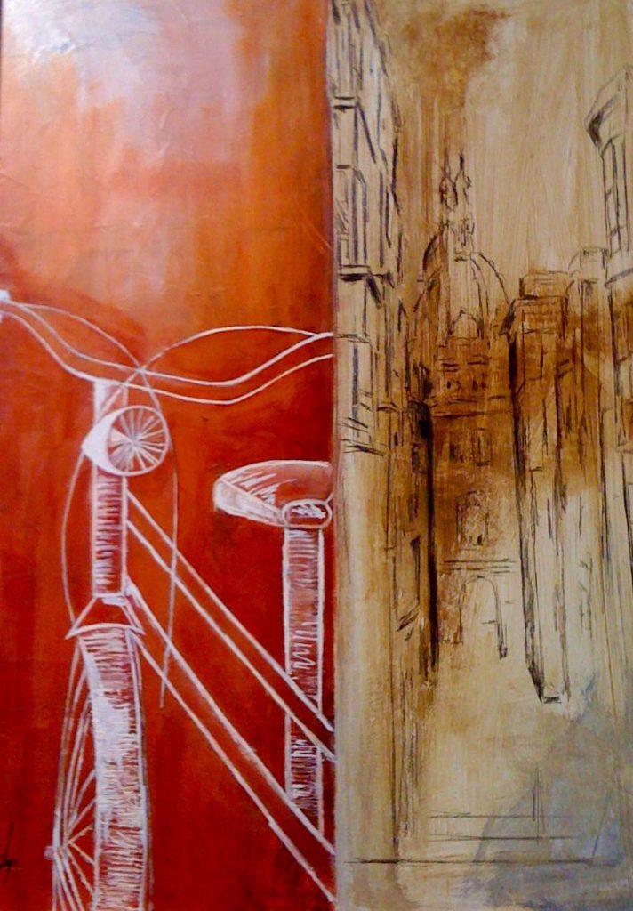 Serie_ Bicis  Óleo sobre lienzo  Medidas: 0,65 x 0,75