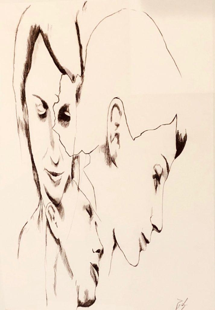 2018_ Doble Mujer. Lápiz y gráfito sobre papel caballo. 60x70