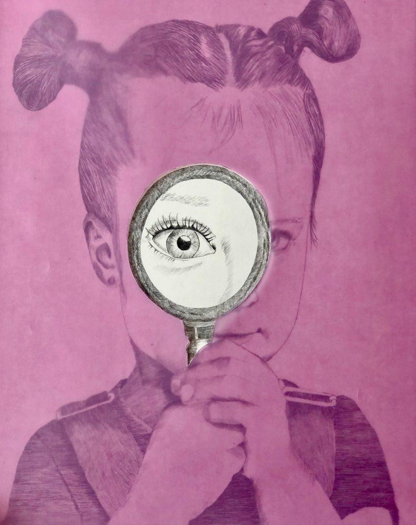 2019_Miradas. Técnica: Lápiz y collage sobre papel caballo. Medidas: 0,45 x 0,65