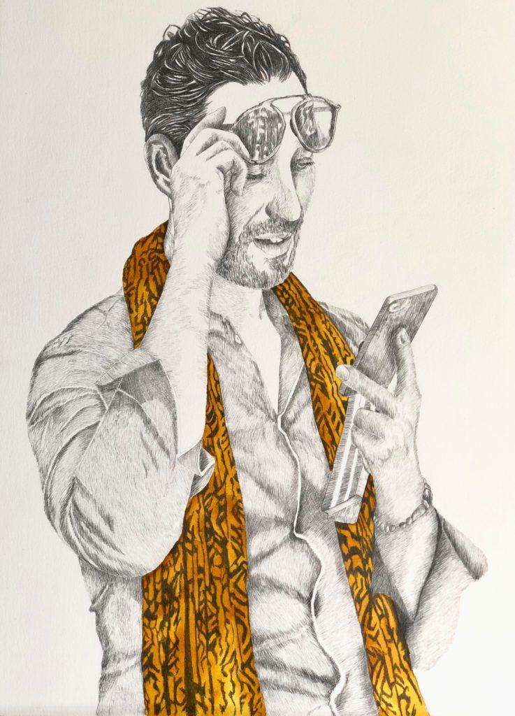 2019_Llamada.  Técnica :Lápiz, grafito y tinta sobre papel. Medidas 0,60 x 0,75