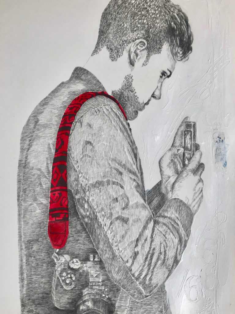 2019_ Movil. Técnica: Lápiz, gráfito y tinta sobre papel caballo. Medidas: 0,52 x 0,62