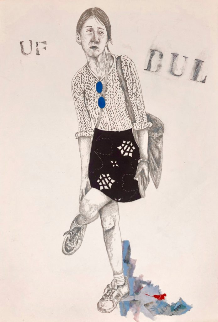 2019_ Blue Lápiz, collage y tinta sobre papel caballo. 52x62