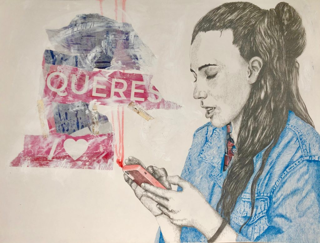 2019_Whats App Lápiz, tintas y collage 60x75