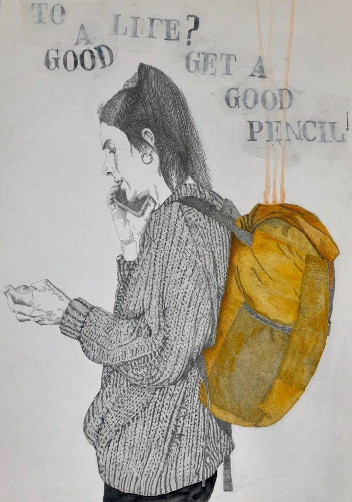 2019_El secreto de una buena vida es conseguir un buen lápiz. Técnica :Lápiz y tintas sobre papel  guarro. Medidas: 0,83 x 0,65