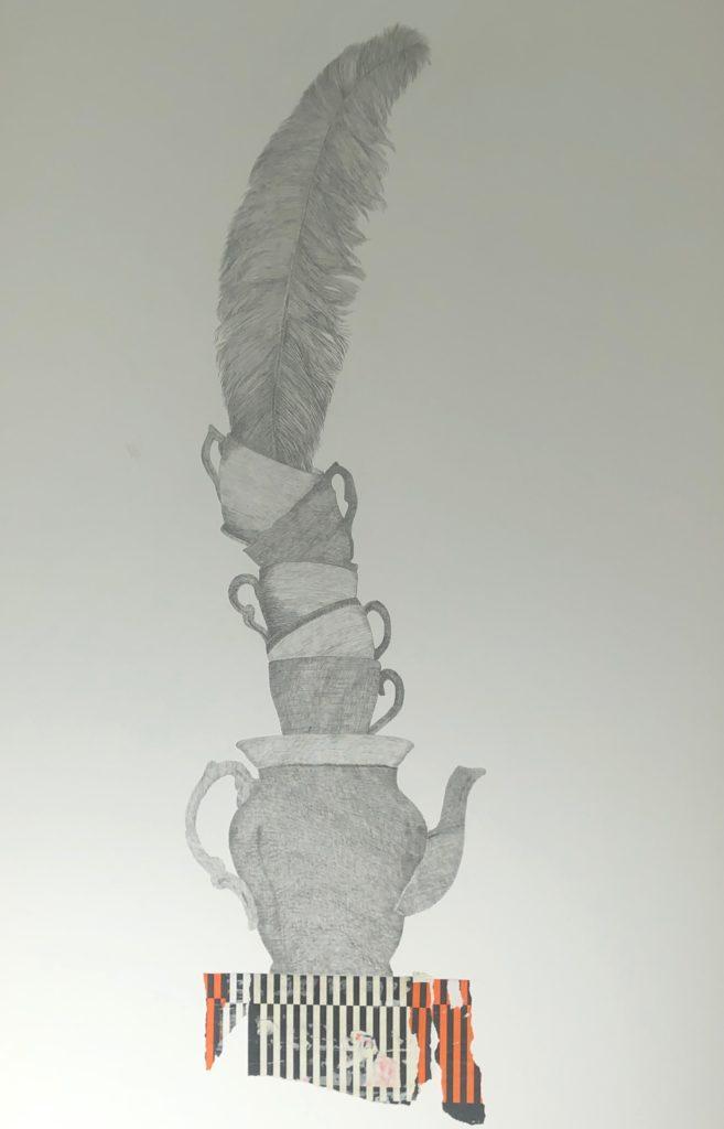 2019_ Equilibrio. Técnica : Lápiz y collage sobre papel estucado. Medidas: 1,10 x 0,70