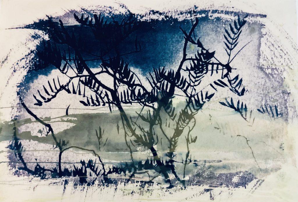2020_Nube de hojas. Técnica Mixta-Cianotipia y Tintas sobre papel Guarro Medidas: 0,84 x 0,73